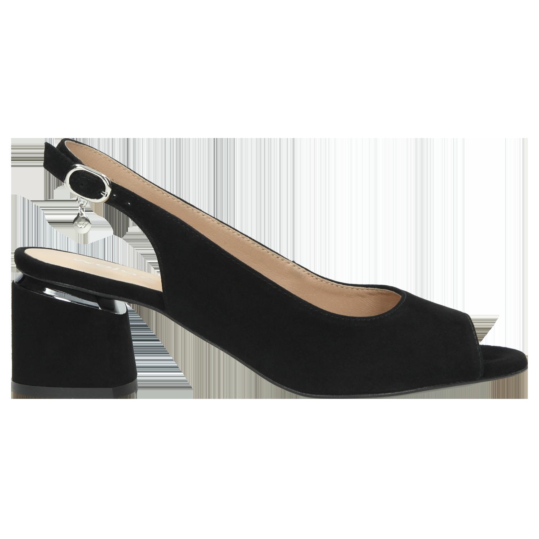 Czarne sandały damskie peep toe z otwartą piętą 76042 61