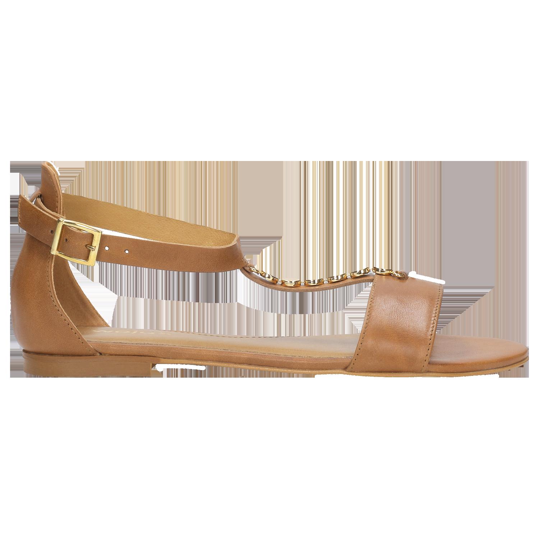 Jasnobrązowe sandały damskie ze złotym łańcuszkiem 8837 53