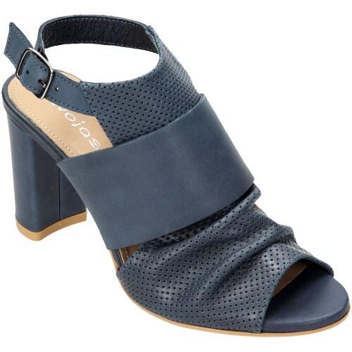 Granatowe sandały damskie na słupku z ozdobnym marszczeniem 6794-56