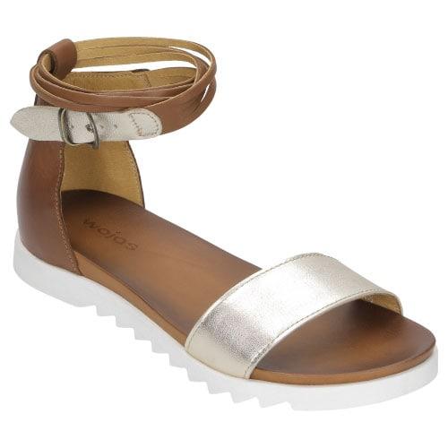 Brązowo złote sandały damskie z białą podeszwą 8777-53