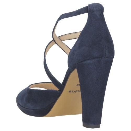 Granatowe sandały damskie ze skóry welurowej 8782-66