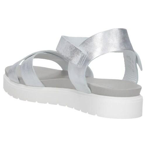 Srebrne komfortowe sandały damskie na białej podeszwie 8823-50
