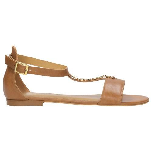 Jasnobrązowe sandały damskie ze złotym łańcuszkiem 8837-53