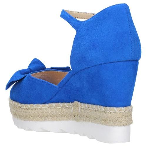 Niebieskie welurowe sandały damskie na koturnie 8790-66