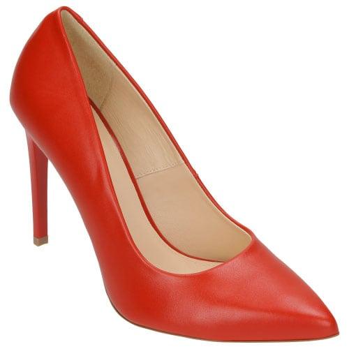 Czerwone czółenka damskie na szpilce 8357-55