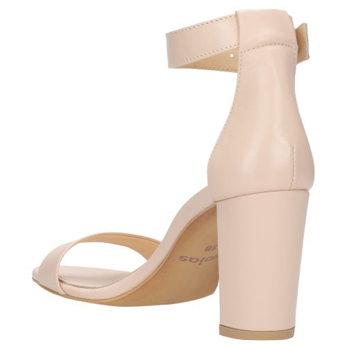 Delikatne beżowe sandały damskie z zapięciem wokół kostki 76028-54