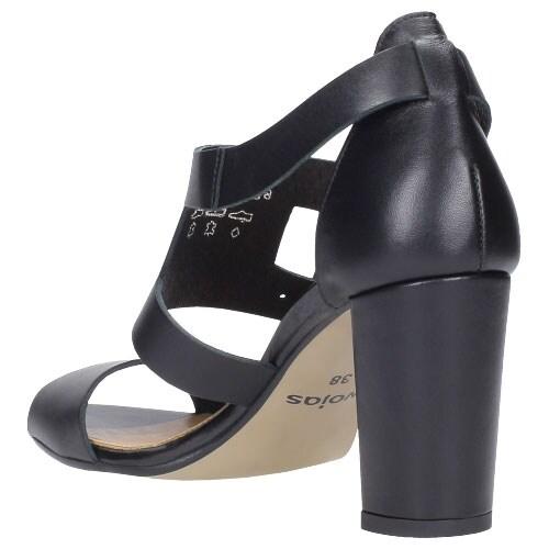 Czarne sandały damskie z ozdobnymi sprzączkami 8784-51