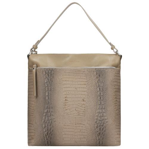 Beżowa torebka z krokodylim motywem 80028-54