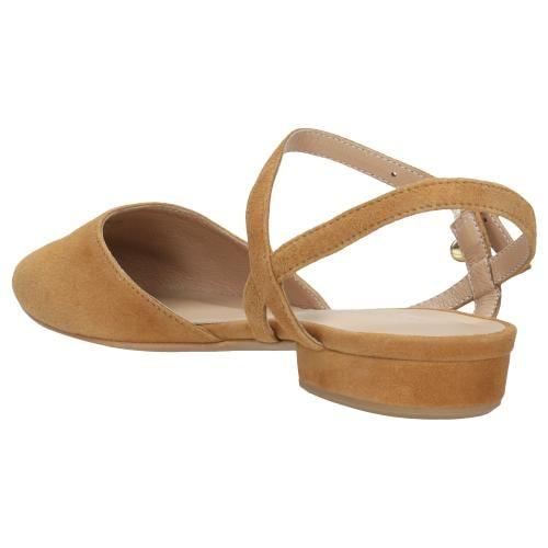 Jasnobrązowe sandały damskie z noskiem w szpic 44012-63