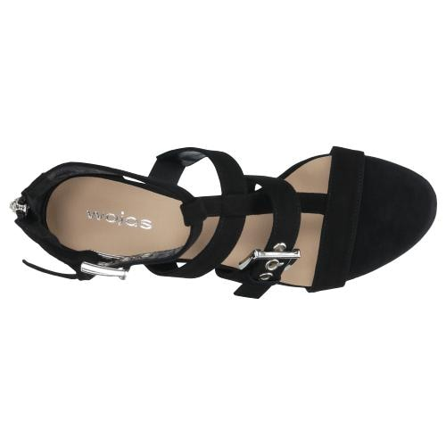 Czarne sandały damskie na wygodnym obcasie 76033-61