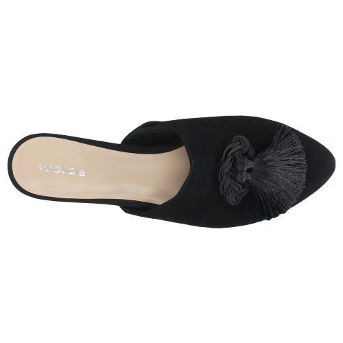 Czarne klapki damskie z frędzlem - limited edition 74012-61