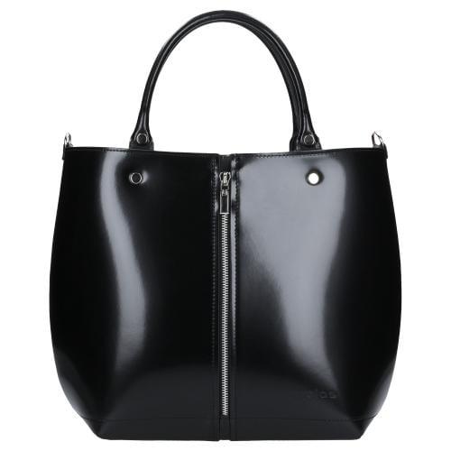 Czarna torebka damska kuferek ze skóry licowej 80014-51