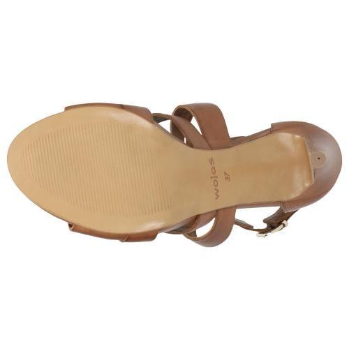 Jasnobrązowe sandały damskie na szpilce 76045-53
