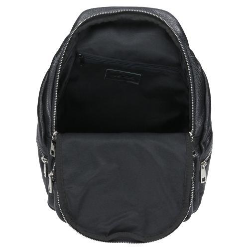 Czarny plecak ze skóry licowej 80032-51