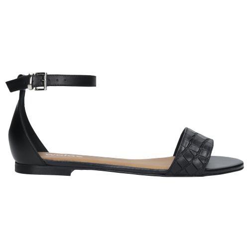 Czarne sandały damskie z zapięciem wokół kostki 76007-51