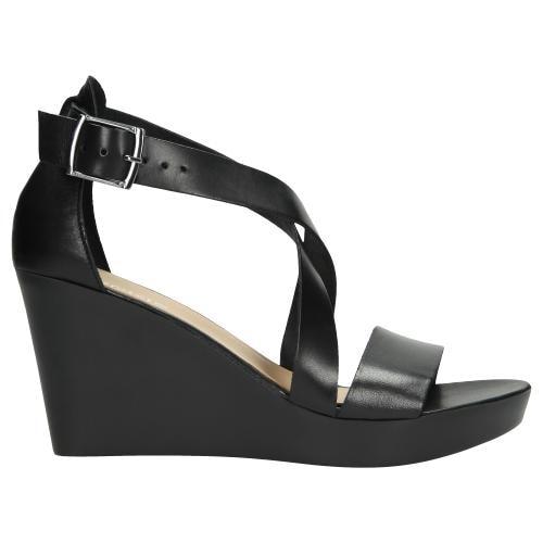 Czarne sandały damskie na koturnie 76024-51