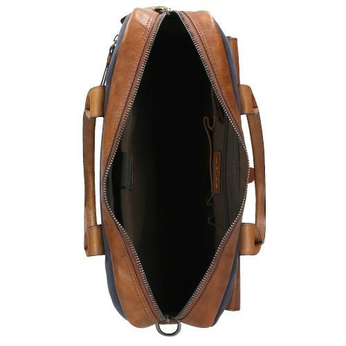 Brązowo-granatowa pojemna torba męska 80053-86