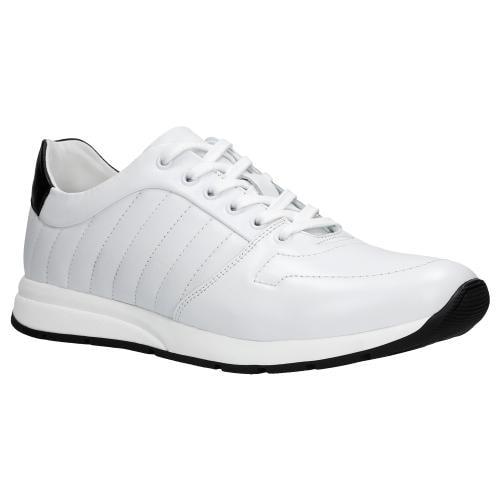 Białe sportowe półbuty męskie z czarną wstawką 10020-59