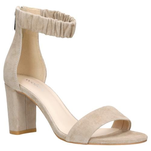 Delikatne beżowe sandały damskie na słupku z paskiem wokół kostki 76026-64