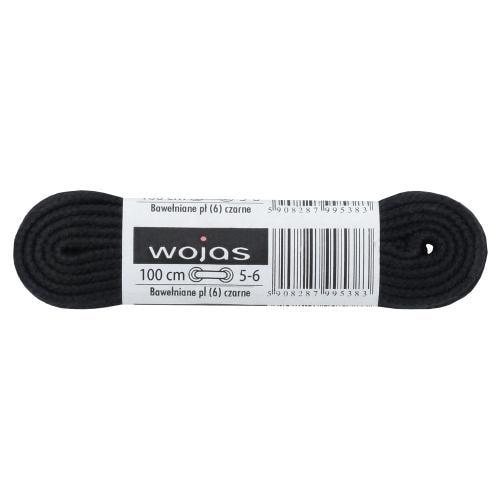 Wojas sznurowadła czarne 100cm/6mm bawełniane płaskie 99500-01