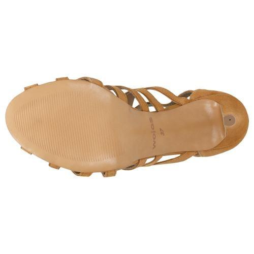 Jasnobrązowe sandały damskie na szpilce z ozdobnymi paseczkami 76044-63