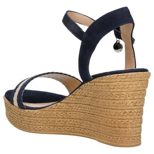 Sandały damskie na koturnie z plecionymi granatowo-beżowymi paskami 76022-86