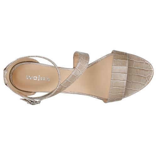 Beżowe sandały damskie na szpilce z minikolekcji upscaled croc 76046-54