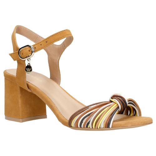 Jasnobrązowe sandały damskie na obcasie z ozdobym paskiem 76043-63