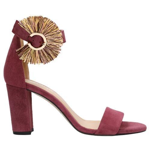 Wyjątkowe amarantowe sandały damskie z ozdobnym kolorowym zapięciem 76027-65