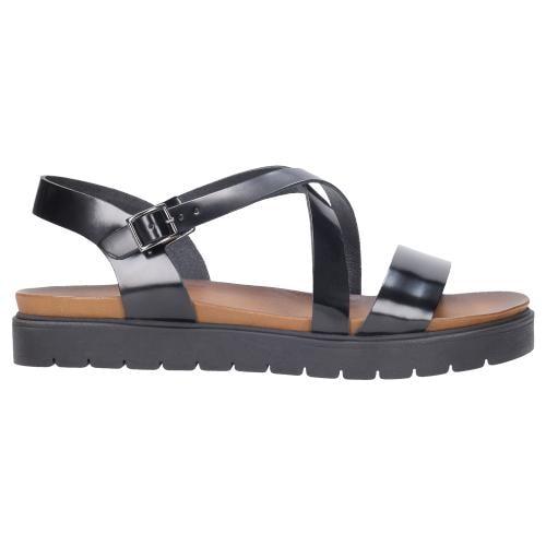 Wygodne czarne sandały damskie na podwyższonej podeszwie 76014-51
