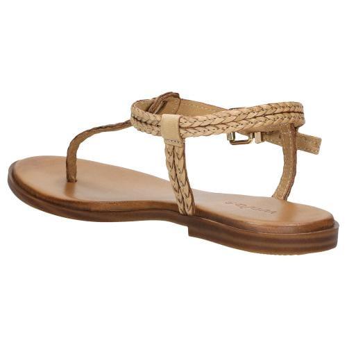 Beżowe sandały damskie japonki na płaskiej podeszwie 76060-54