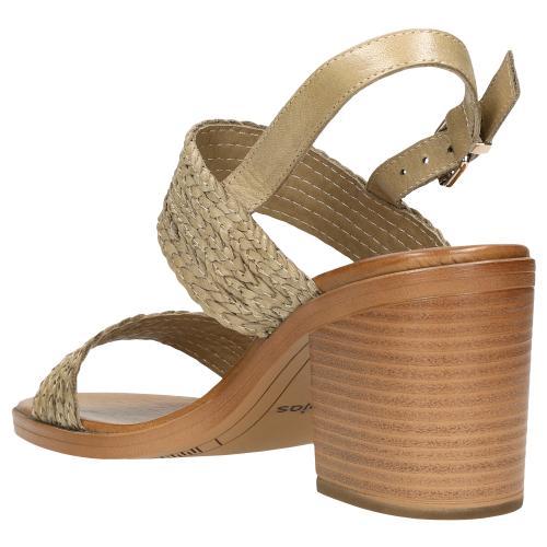 Beżowe sandały damskie na słupku z plecionymi paskami 76059-54