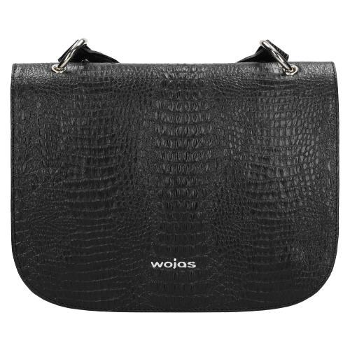 Mała czarna torebka damska na codzień ze skóry licowej tłoczonej  9850-51