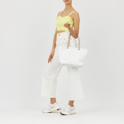 Duża biała torebka z brązowymi rączkami 80025-59