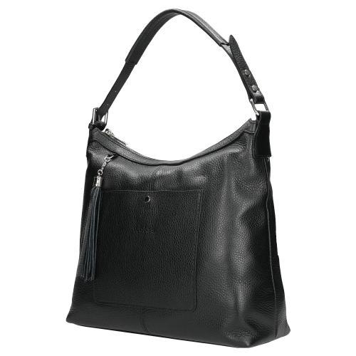 Czarna duża torebka damska ze skóry licowej 80078-51