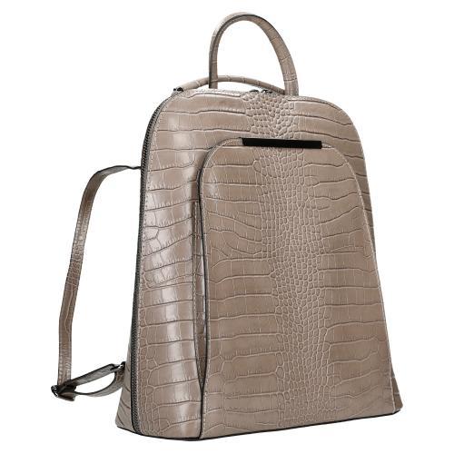 Beżowy plecak z imitacji skóry krokodyla wykonany ze skóry licowej 80057-54