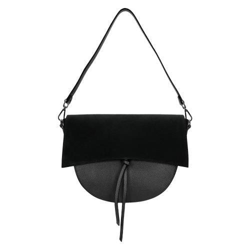 Mała czarna torebka damska z łączonych skór 80030-71