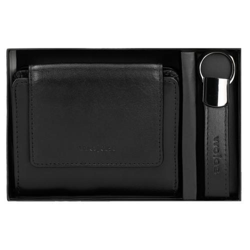 Zestaw prezentowy damski - czarny portfel + breloczek z logo Wojas 9956-51