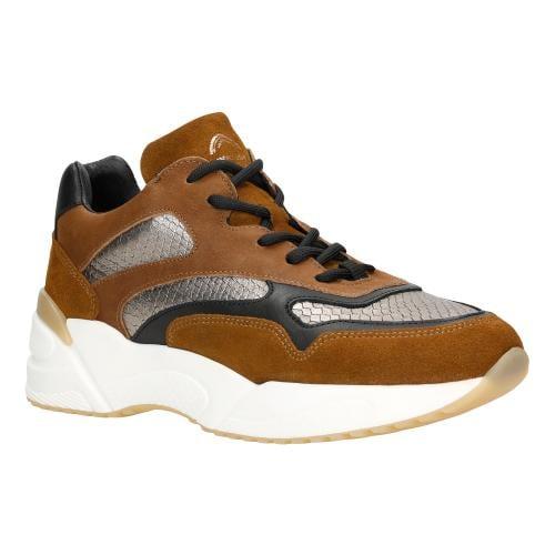 Brązowe sneakersy damskie ze złotymi i czarnymi elementami 46067-83