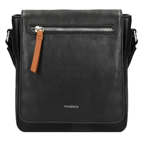 Czarna torba męska z brązowami akcentami wykonana ze skóry licowej 80063-51