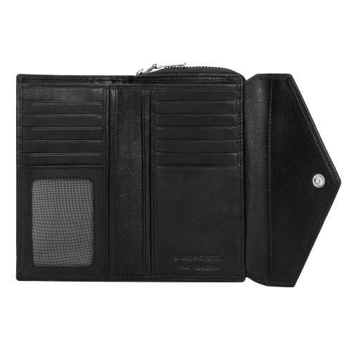 Czarny portfel damski z ozdobnym tłoczeniem 91012-51