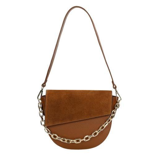 Jasnobrązowa torebka damska z łańcuszkiem 80109-73