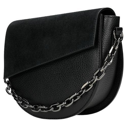 Czarna torebka damska z łączonych skór 80109-71