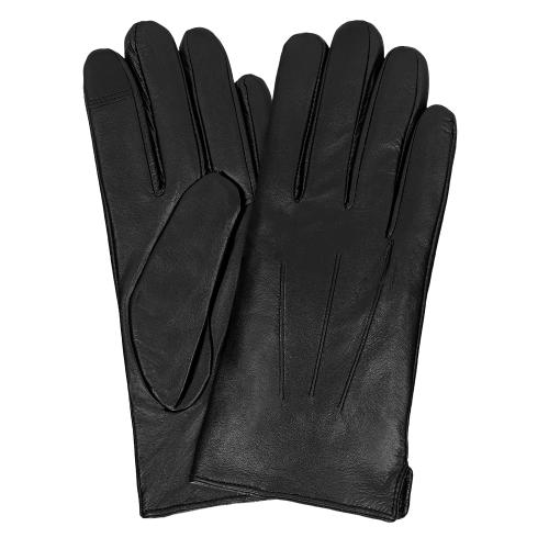 Skórzane rękawiczki męskie w kolorze czarnym 98117-51