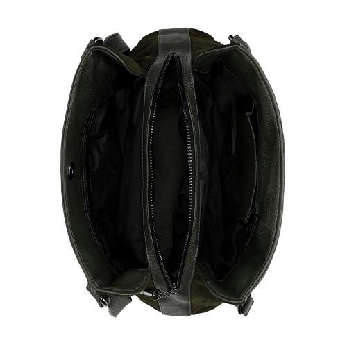 Duża zielona torebka damska ze skóry licowej i weluru 9859-77