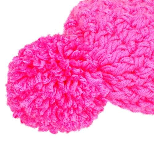 HANDMADE czapka damska neonowy róż 96005-15