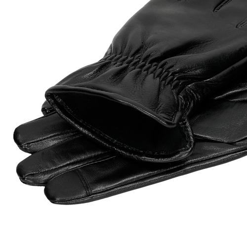 Czarne skórzane rękawiczki męskie 98123-51