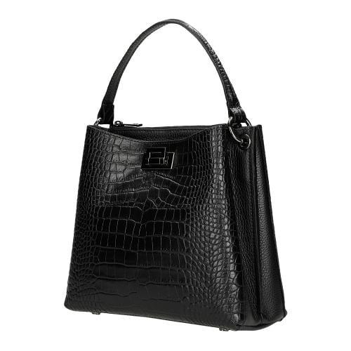 Czarna torebka damska z imitacją krokodylej skóry 80016-51