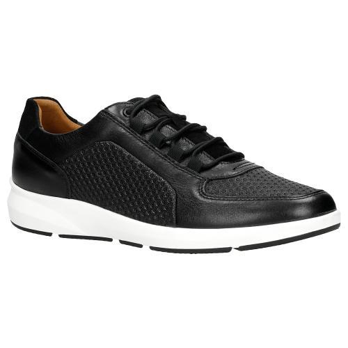 Czarne sneakersy męskie na białej podeszwie 10062-71