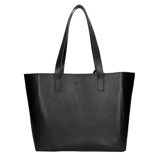 Duża skórzana torebka damska w kolorze czarnym 80130-51